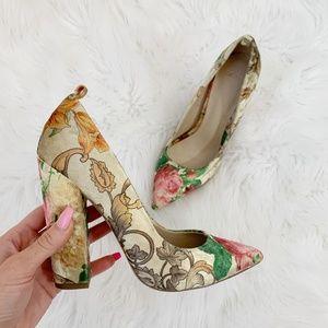 ASOS Floral Print Velvet Pointy Toe Heels US Sz 6